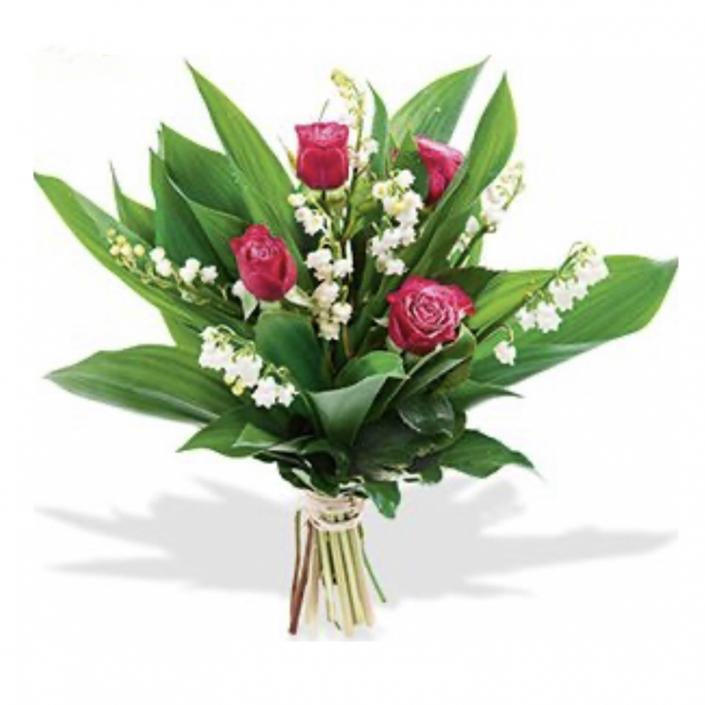 Bouquet de Muguet et 5 roses pastel parfum de fleurs beautiran - 20€