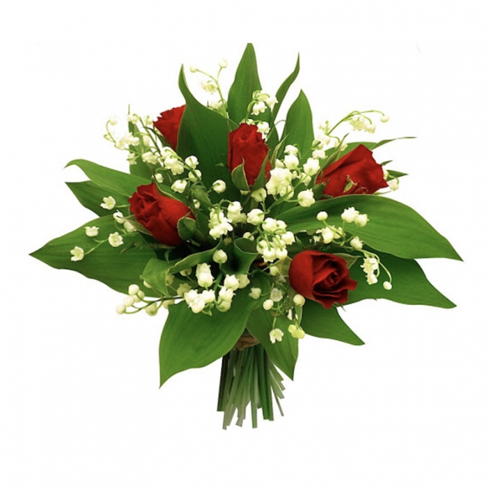 Bouquet de Muguet et 5 roses rouges 20€