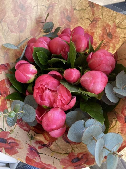 Bouquet de 9 Pivoines corail - 30€